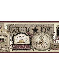 Brown Gathering Room Signs Border by