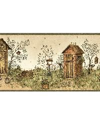 Neutral Garden Outhouses Border by