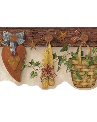 Brown Country Pegboard Border by  Brewster Wallcovering