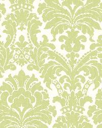 Ginger Green Brocade Damask Wallpaper by