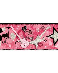 Regina Pink Rock Star Toss Border by  Brewster Wallcovering