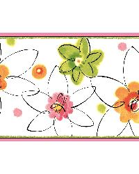 Veronica Pink Crazy Daisy Toss Border by  Brewster Wallcovering