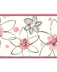 Veronica Black Crazy Daisy Toss Border by  Brewster Wallcovering
