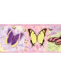 BFF Pink Butterflies And Stars Border by  Brewster Wallcovering