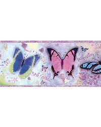 BFF Purple Butterflies And Stars Border by  Brewster Wallcovering