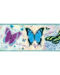 BFF Blue Butterflies And Stars Border by  Brewster Wallcovering
