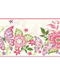 Minnie Pink Butterflies And Blooms Border by  Brewster Wallcovering