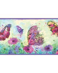 Ava Purple Butterfly Swoosh Border by