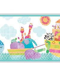 Noah and Friends Aqua Animal Border by