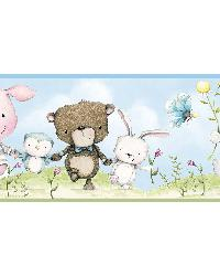 Brenden Blue Animal Parade Border by