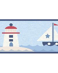 Travis Navy Come Sail Away Border by