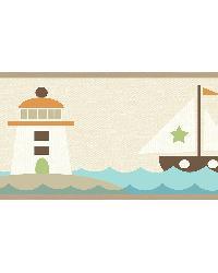 Travis Orange Come Sail Away Border by