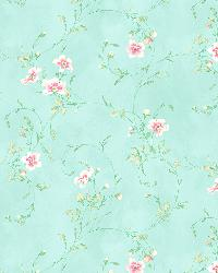 Capri Aqua Floral Scroll by