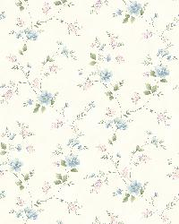Nancy Blue Spring Bloom Trail Wallpaper by  Brewster Wallcovering