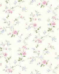 Nancy Pink Spring Bloom Trail Wallpaper by  Brewster Wallcovering
