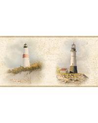 Seaman Cream Lighthouse Coast Portrait Border by