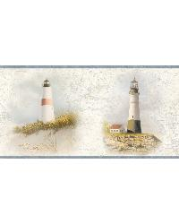 Seaman Blue Lighthouse Coast Portrait Border by