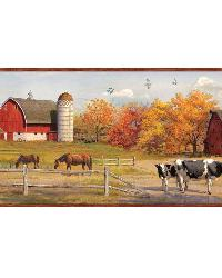 Winslow Red American Farmer Portrait Border by  Brewster Wallcovering