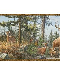 Fern Purple Whitetail Portrait Border by  Brewster Wallcovering