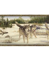 Shiloh Grey Wintry Wolf Portrait Border by  Brewster Wallcovering