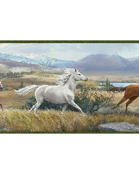Swift Yellow Open Range Horses Portrait Border by  Brewster Wallcovering