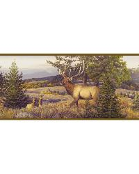 Breeze Purple Elk Mountain Portrait Border by  Brewster Wallcovering
