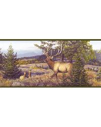 Breeze Blue Elk Mountain Portrait Border by  Brewster Wallcovering