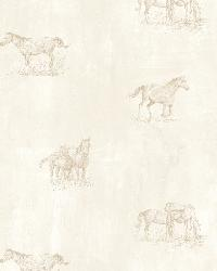 Doodles Grey Horse Sketch Toss Wallpaper by  Brewster Wallcovering