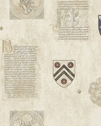 Scholar Beige Crest Wallpaper by