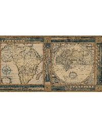 Oliver Blue Map Border by
