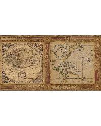 Oliver Burnt Sienna Map Border by