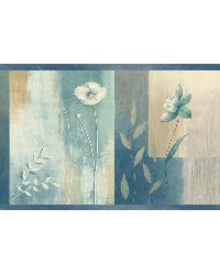 Bonnard Turquoise Colorblock Floral Border by