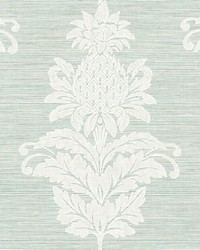 Pineapple Grove Turquoise Damask Wallpaper by