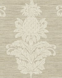 Pineapple Grove Brown Damask Wallpaper by