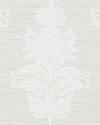 Pineapple Grove Grey Damask Wallpaper by