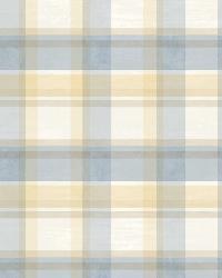 Sunday Blue Tartan Wallpaper by  Brewster Wallcovering