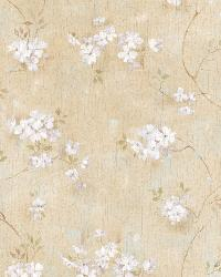 Braham Sand Country Floral Scroll Wallpaper by  Brewster Wallcovering