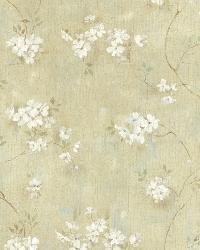 Braham Green Country Floral Scroll Wallpaper by  Brewster Wallcovering