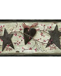 Dorothy Grey Star Heart Sprig Border by  Brewster Wallcovering