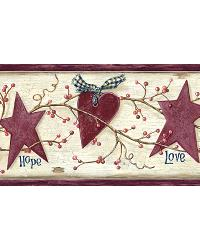 Dorothy Rose Star Heart Sprig Border by  Brewster Wallcovering