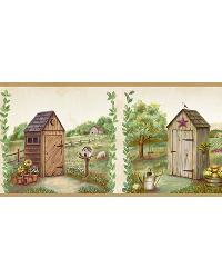 Fredley Cream Country Meadow Outhouse Border by  Brewster Wallcovering