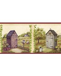 Fredley Blue Country Meadow Outhouse Border by  Brewster Wallcovering