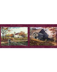 Norm Red Quiet Country Scenes Border by  Brewster Wallcovering