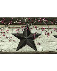 Ennis Grey Rustic Barn Star Border by  Brewster Wallcovering