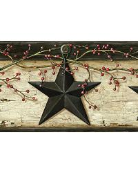 Ennis Sand Rustic Barn Star Border by  Brewster Wallcovering