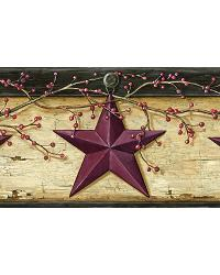 Ennis Wheat Rustic Barn Star Border by  Brewster Wallcovering