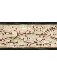 Florence Sand Winterberry Branch Trail Border by  Brewster Wallcovering