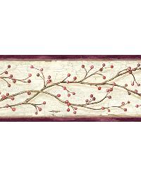 Florence Rose Winterberry Branch Trail Border by  Brewster Wallcovering