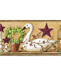 Rue Wheat Swan Star Collage Border by  Brewster Wallcovering