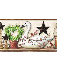 Rue White Swan Star Collage Border by  Brewster Wallcovering